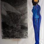Burn it down, Kohle/Buntstift auf Butterbrotpapier, Öl-glasiert, Mai 2013