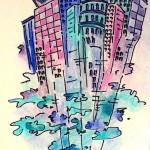 Schloss. Wolken., Edding und Buntstift auf Zeichenpapier, Juni 2013
