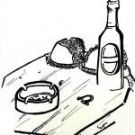 Stilleben postkoital, Edding auf Zeichenpapier, Juni 2013