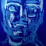 Heute mal Philosoph, Buntstift auf blauem Tonpapier, Juni 2013