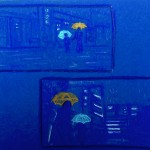 """Atmösphärische Skizzen zu """"Dark Water"""", Buntstift auf blauem Tonpapier, Juni 2013"""
