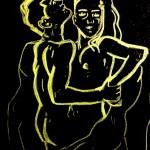 """Skizze nach Koloman Moser """"Les amoureux"""", Buntstift auf schwarzem Tonpapier, Juni 2013"""