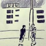 Out, Kugelschreiber auf Skizzenpapier, August 2013