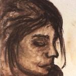 Lioba, Sepia-Kohle auf Zeichenpapier, Juni 2013