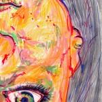 Selbstportrait, Buntstift und Textmarker auf Papier, Juni 2012