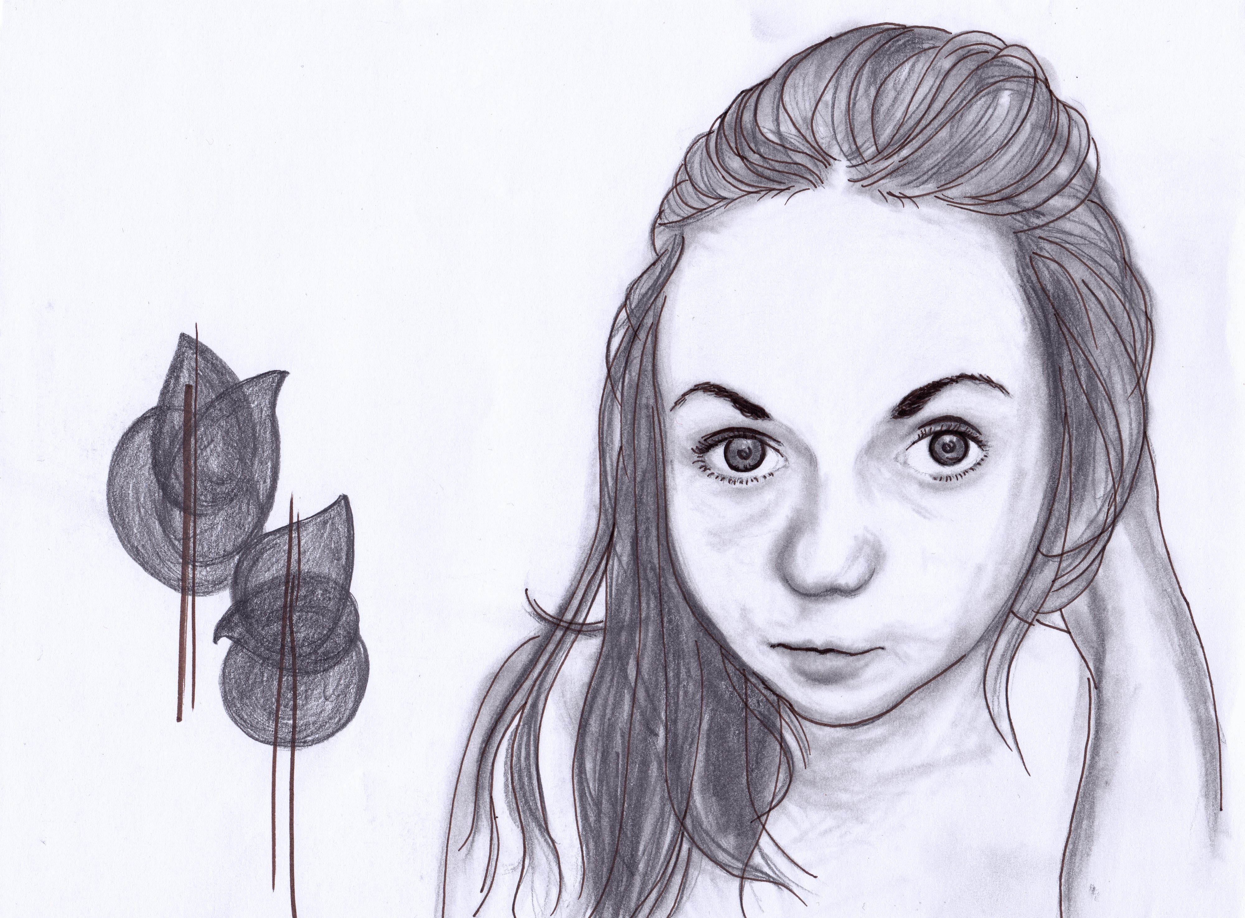 Selbstportrait mit Bäumen, Bleistift und Fineliner auf Papier, April 2012