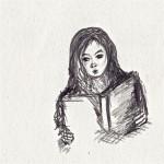 Lesende, Bleistift auf Zeichenpapier, Mai 2012