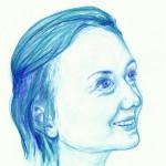 Selbstportrait in Blau, Buntstift auf Zeichenpapier, Dezember 2012